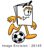#26145 Clip Art Graphic Of A White Copy And Print Paper Cartoon Character Kicking A Soccer Ball