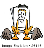 #26146 Clip Art Graphic Of A White Copy And Print Paper Cartoon Character Lifting A Heavy Barbell