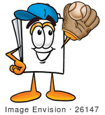 #26147 Clip Art Graphic Of A White Copy And Print Paper Cartoon Character Catching A Baseball With A Glove