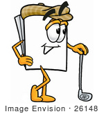 #26148 Clip Art Graphic Of A White Copy And Print Paper Cartoon Character Leaning On A Golf Club While Golfing