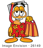 #26149 Clip Art Graphic Of A White Copy And Print Paper Cartoon Character In Orange And Red Snorkel Gear