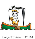 #26151 Clip Art Graphic Of A White Copy And Print Paper Cartoon Character Rowing A Boat