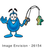 #26154 Clip Art Graphic Of A Blue Waterdrop Or Tear Character Holding A Fish On A Fishing Pole