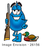 #26156 Clip Art Graphic Of A Blue Waterdrop Or Tear Character Duck Hunting Standing With A Rifle And Duck