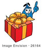 #26164 Clip Art Graphic Of A Blue Waterdrop Or Tear Character Standing By A Christmas Present