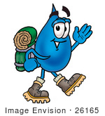 #26165 Clip Art Graphic Of A Blue Waterdrop Or Tear Character Hiking And Carrying A Backpack