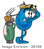 #26169 Clip Art Graphic Of A Blue Waterdrop Or Tear Character Swinging His Golf Club While Golfing