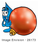 #26173 Clip Art Graphic Of A Blue Waterdrop Or Tear Character Standing With A Christmas Bauble