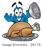 #26175 Clip Art Graphic Of A Blue Waterdrop Or Tear Character Serving A Thanksgiving Turkey On A Platter