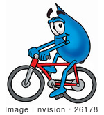 #26178 Clip Art Graphic Of A Blue Waterdrop Or Tear Character Riding A Bicycle