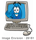 #26181 Clip Art Graphic Of A Blue Waterdrop Or Tear Character Waving From Inside A Computer Screen