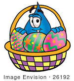 #26192 Clip Art Graphic Of A Blue Waterdrop Or Tear Character In An Easter Basket Full Of Decorated Easter Eggs