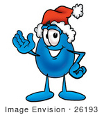 #26193 Clip Art Graphic Of A Blue Waterdrop Or Tear Character Wearing A Santa Hat And Waving