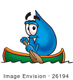 #26194 Clip Art Graphic Of A Blue Waterdrop Or Tear Character Rowing A Boat