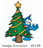 #26198 Clip Art Graphic Of A Blue Waterdrop Or Tear Character Waving And Standing By A Decorated Christmas Tree