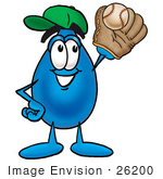 #26200 Clip Art Graphic Of A Blue Waterdrop Or Tear Character Catching A Baseball With A Glove