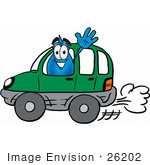 #26202 Clip Art Graphic Of A Blue Waterdrop Or Tear Character Driving A Green Car And Waving