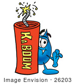 #26203 Clip Art Graphic Of A Blue Waterdrop Or Tear Character Standing With A Lit Stick Of Dynamite