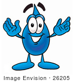 #26205 Clip Art Graphic Of A Blue Waterdrop Or Tear Character With Welcoming Open Arms