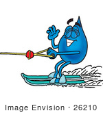 #26210 Clip Art Graphic Of A Blue Waterdrop Or Tear Character Waving While Water Skiing