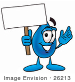 #26213 Clip Art Graphic of a Blue Waterdrop or Tear Character Holding a Blank Sign by toons4biz