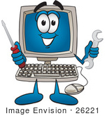 #26221 Clip Art Graphic Of A Desktop Computer Cartoon Character Holding A Wrench And Screwdriver