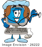 #26222 Clip Art Graphic Of A Female Desktop Computer Cartoon Character Nurse Holding A Stethoscope