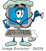 #26224 Clip Art Graphic Of A Male Desktop Computer Cartoon Character Nurse Or Doctor Holding A Stethoscope