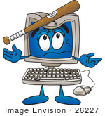 #26227 Clip Art Graphic of a Desktop Computer Cartoon Character Being Broken With a Baseball Bat by toons4biz