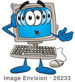 #26233 Clip Art Graphic Of A Confused Desktop Computer Cartoon Character