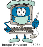 #26234 Clip Art Graphic Of A Desktop Computer Surgeon Cartoon Character In Scrubs Holding A Scalpel