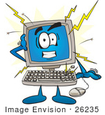 #26235 Clip Art Graphic Of A Crashing Desktop Computer Cartoon Character
