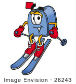 #26243 Clip Art Graphic Of A Blue Snail Mailbox Cartoon Character Skiing Downhill
