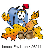#26244 Clip Art Graphic of a Blue Snail Mailbox Cartoon Character With Autumn Leaves and Acorns in the Fall by toons4biz