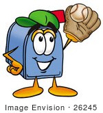 #26245 Clip Art Graphic Of A Blue Snail Mailbox Cartoon Character Catching A Baseball With A Glove