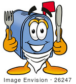 #26247 Clip Art Graphic Of A Blue Snail Mailbox Cartoon Character Holding A Knife And Fork