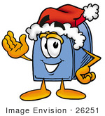 #26251 Clip Art Graphic Of A Blue Snail Mailbox Cartoon Character Wearing A Santa Hat And Waving