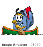 #26252 Clip Art Graphic Of A Blue Snail Mailbox Cartoon Character Rowing A Boat