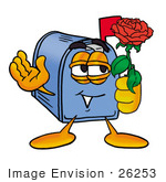 #26253 Clip Art Graphic Of A Blue Snail Mailbox Cartoon Character Holding A Red Rose On Valentines Day