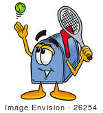 #26254 Clip Art Graphic Of A Blue Snail Mailbox Cartoon Character Preparing To Hit A Tennis Ball