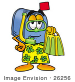#26256 Clip Art Graphic Of A Blue Snail Mailbox Cartoon Character In Green And Yellow Snorkel Gear