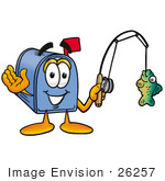 #26257 Clip Art Graphic Of A Blue Snail Mailbox Cartoon Character Holding A Fish On A Fishing Pole