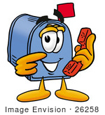 #26258 Clip Art Graphic Of A Blue Snail Mailbox Cartoon Character Holding A Telephone