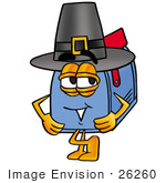 #26260 Clip Art Graphic Of A Blue Snail Mailbox Cartoon Character Wearing A Pilgrim Hat On Thanksgiving