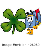 #26262 Clip Art Graphic Of A Blue Snail Mailbox Cartoon Character With A Green Four Leaf Clover On St Paddy'S Or St Patricks Day
