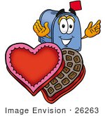 #26263 Clip Art Graphic Of A Blue Snail Mailbox Cartoon Character With An Open Box Of Valentines Day Chocolate Candies