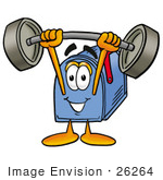 #26264 Clip Art Graphic Of A Blue Snail Mailbox Cartoon Character Holding A Heavy Barbell Above His Head