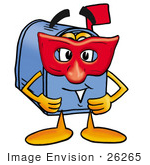 #26265 Clip Art Graphic Of A Blue Snail Mailbox Cartoon Character Wearing A Red Mask Over His Face