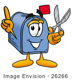 #26266 Clip Art Graphic Of A Blue Snail Mailbox Cartoon Character Holding A Pair Of Scissors