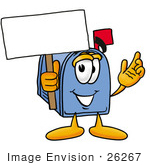 #26267 Clip Art Graphic Of A Blue Snail Mailbox Cartoon Character Holding A Blank Sign
